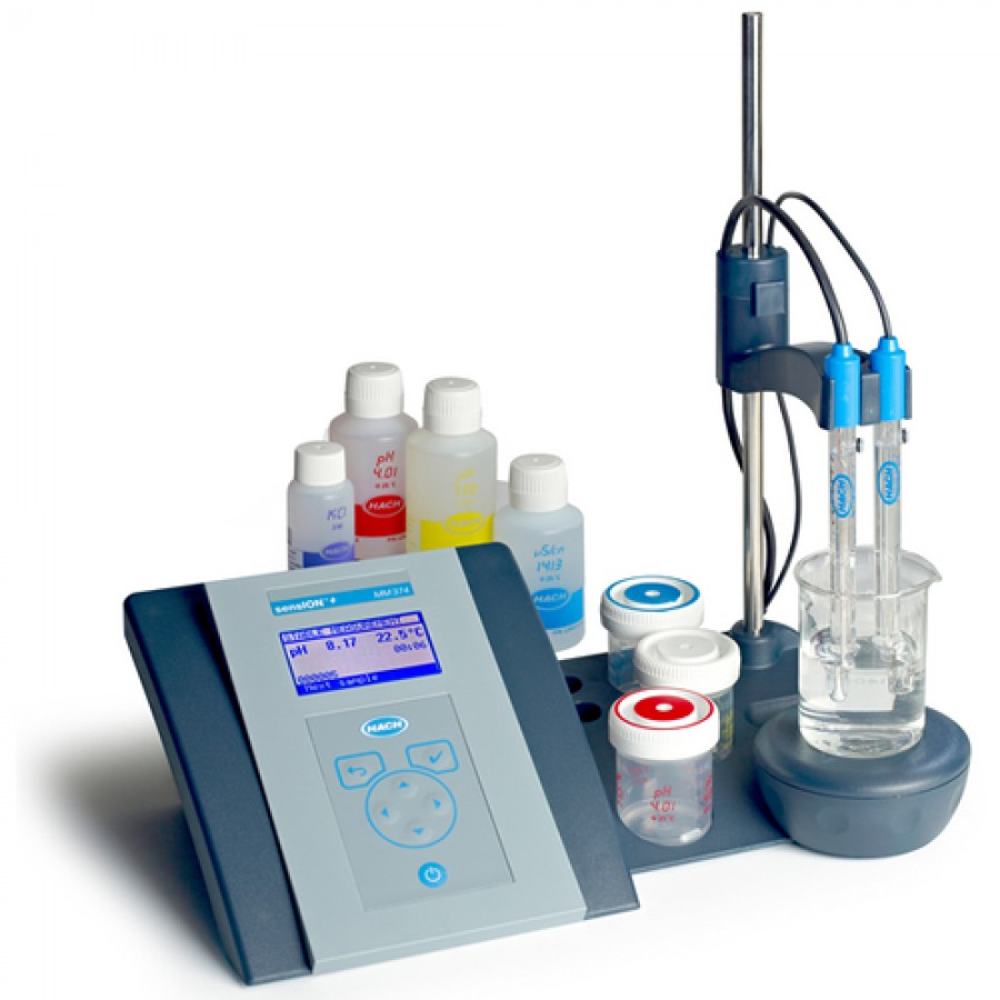 HACH sensION+ MM374 (LPV4140.97.0002) GLP Lab pH/ISE/EC Benchtop Meter Kit with 5014 Combination pH Electrode, 5070 Conductivity Cell