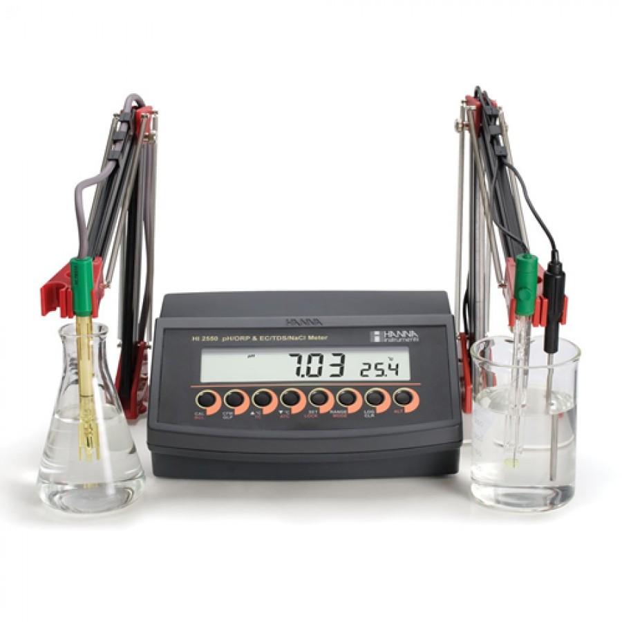 HANNA HI2550 Multiparameter pH/mV/ISE and EC/TDS/Salinity Benchtop Meter