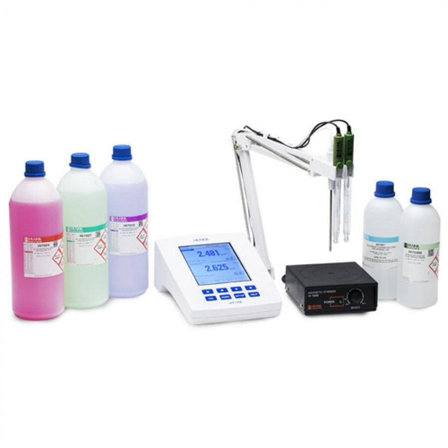 HANNA HI5222K Laboratory Research Grade Two Channel Benchtop pH/mV/ISE Meter Kit