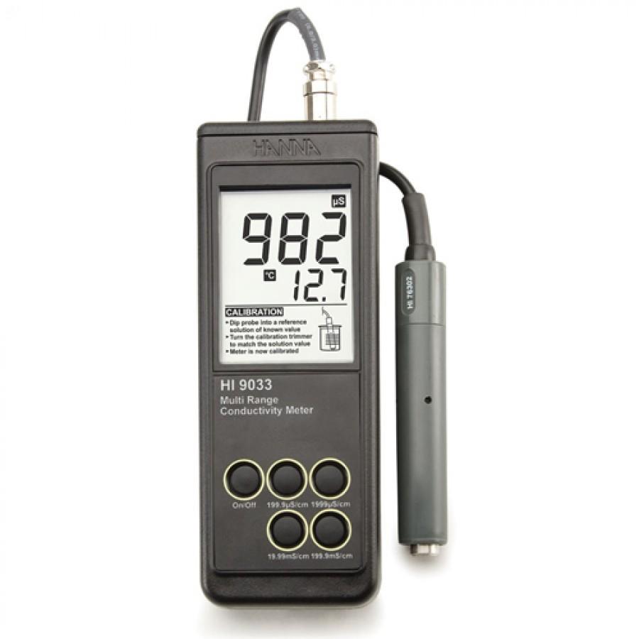 HANNA HI9033 Heavy Duty Waterproof Portable Conductivity Meter