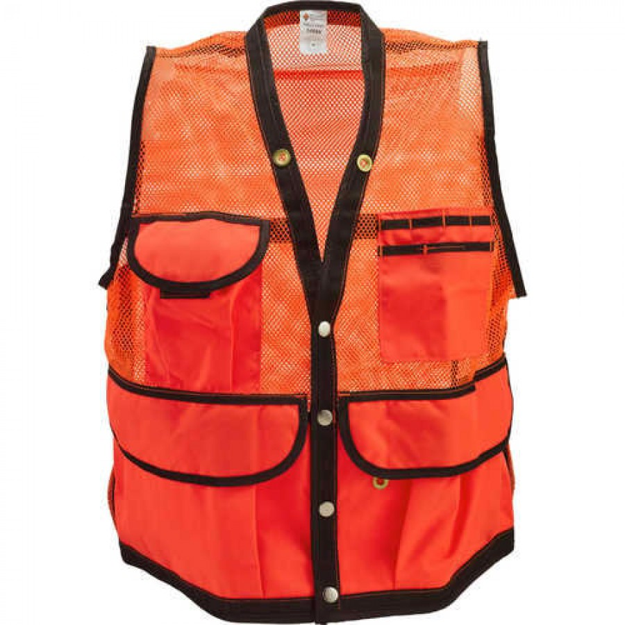 JIM-GEM 8-Pocket Nylon Mesh Cruiser Vests, Hi-Vis Orange Large 39-43 Chest