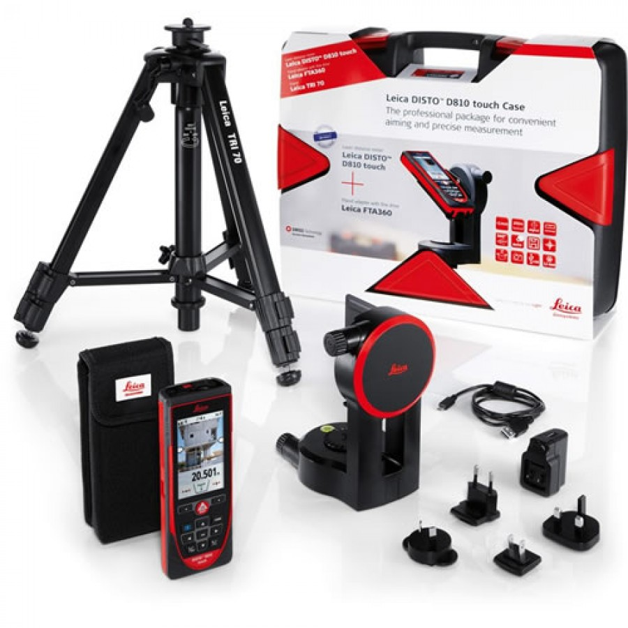 Leica Disto D810 Touch Laser Distance Meter with Tripod and Adapter