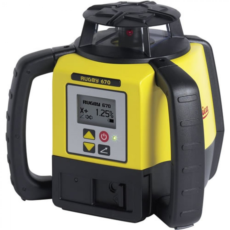 Leica Rugby 670 Grade Laser Level with Alkaline Battery Pack and Rod Eye 120 Receiver