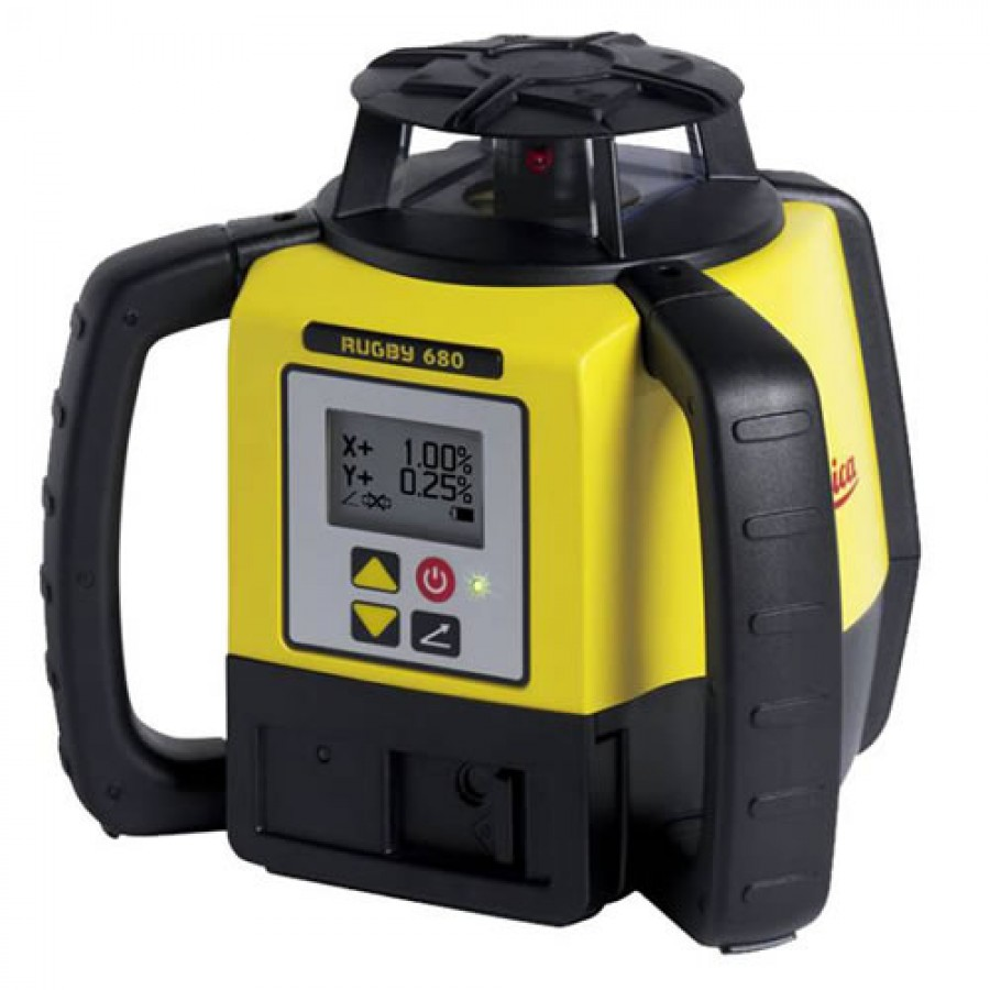 Leica Rugby 680 Dual Grade Laser Level with Alkaline Battery and Rod Eye 120 Receiver