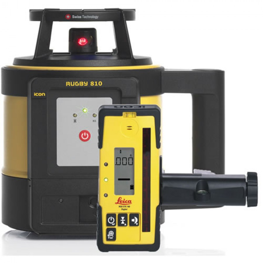 Leica Rugby 810 Laser Level With Li Ion Battery And Rod